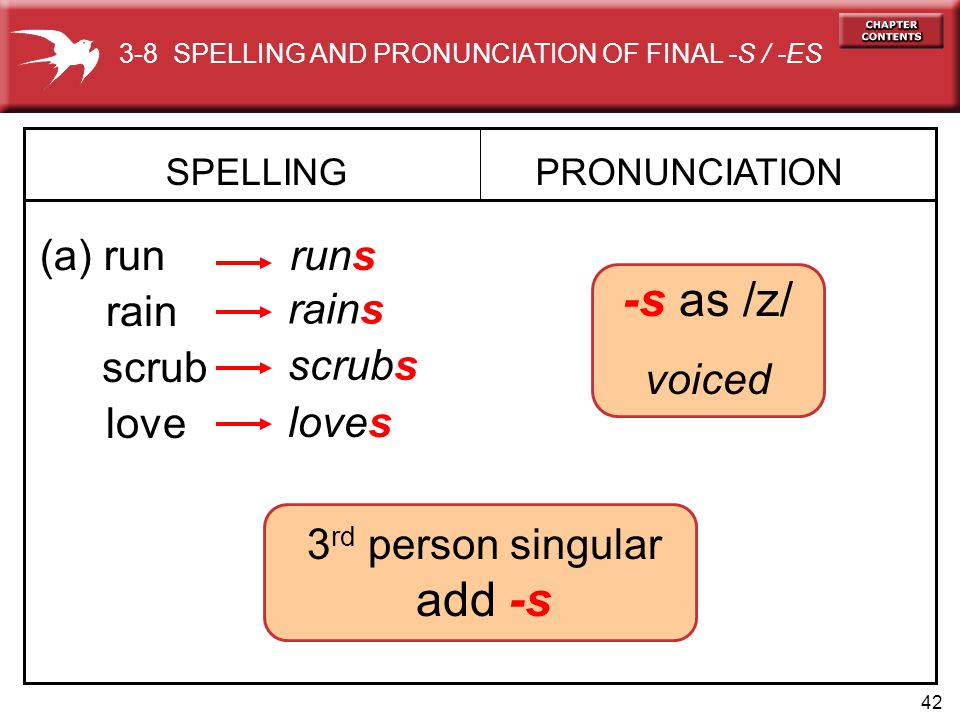 42 3 rd person singular add -s rains SPELLING (a) run PRONUNCIATION runs rain -s as /z/ voiced scrub scrubs love loves 3-8 SPELLING AND PRONUNCIATION OF FINAL -S / -ES