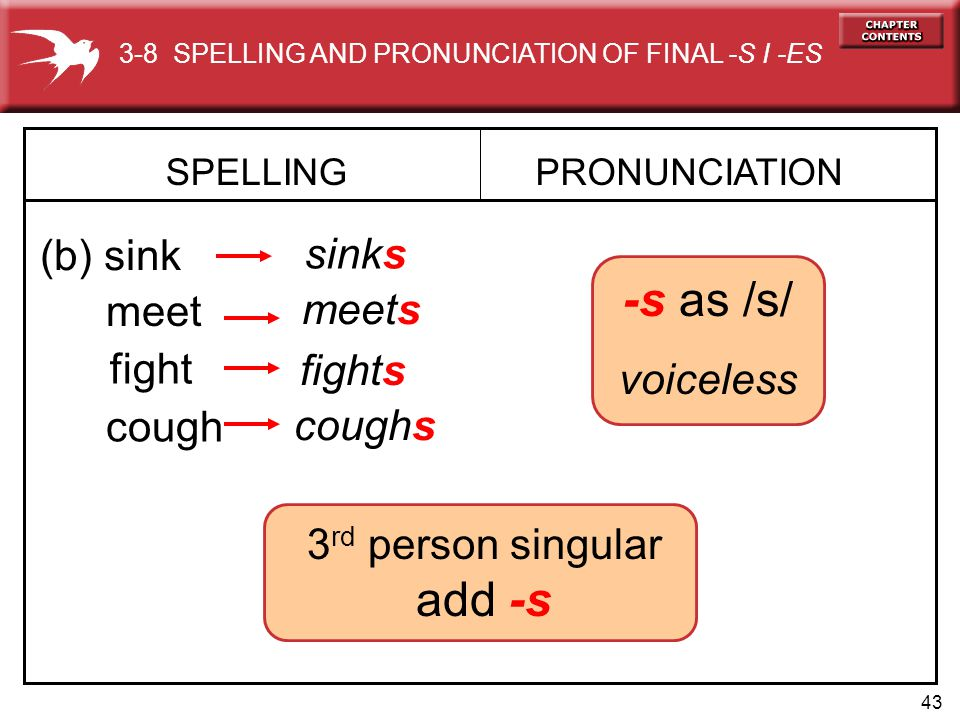 43 -s as /s/ voiceless SPELLING (b) sink PRONUNCIATION sinks meet meets fight fights cough coughs 3-8 SPELLING AND PRONUNCIATION OF FINAL -S I -ES 3 rd person singular add -s