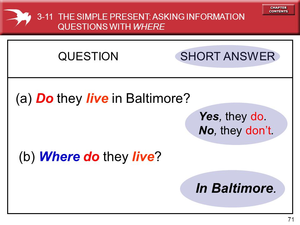 71 Yes, they do.No, they don't. QUESTION SHORT ANSWER (a) Do they live in Baltimore.