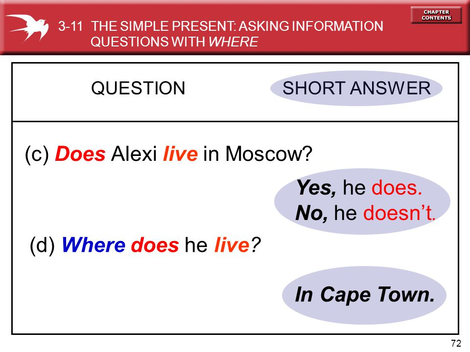 72 Yes, he does.No, he doesn't. QUESTION SHORT ANSWER (c) Does Alexi live in Moscow.