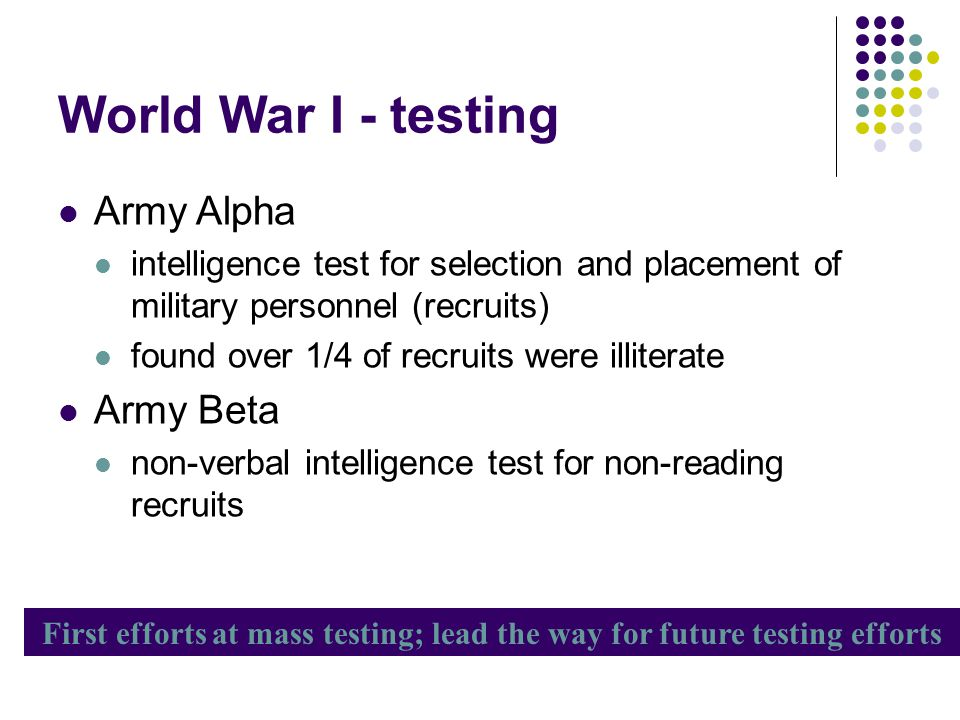World War I - testing Army Alpha intelligence test for selection and placement of military personnel (recruits) found over 1/4 of recruits were illite