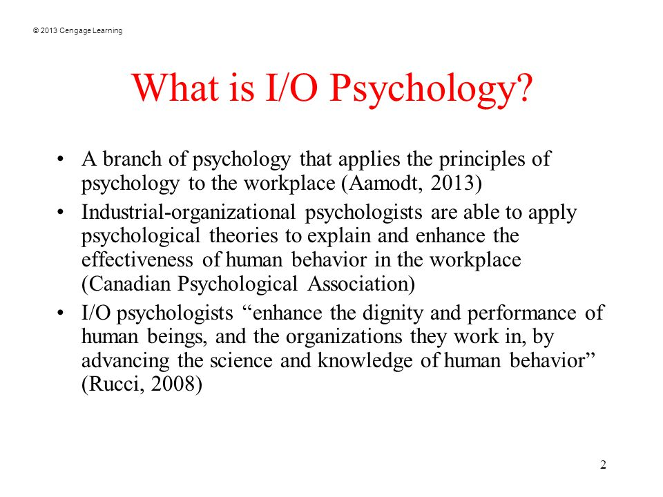 © 2013 Cengage Learning 2 What is I/O Psychology.