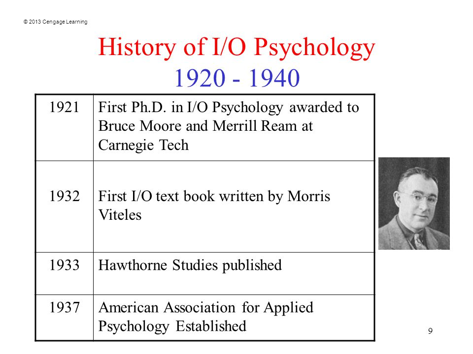 © 2013 Cengage Learning 9 History of I/O Psychology First Ph.D.