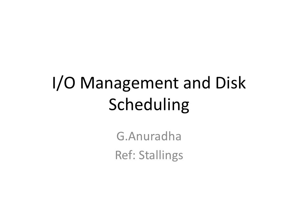 Contents I/O Devices Organization of the I/O Function Operating System Design Issues I/O Buffering Disk Scheduling RAID Disk Cache
