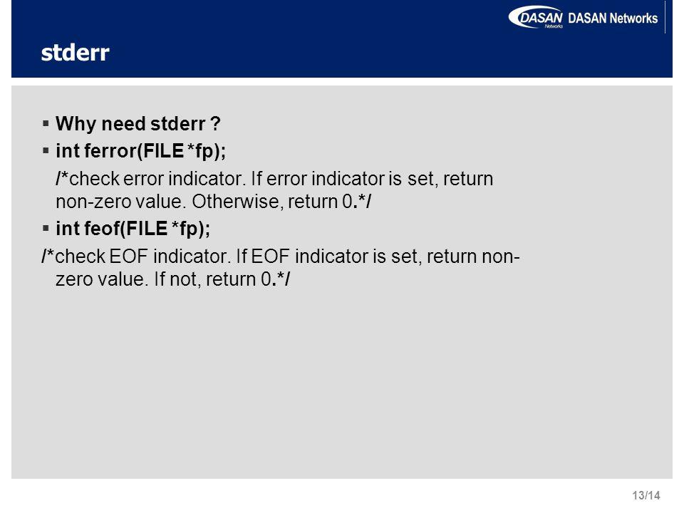 stderr  Why need stderr .  int ferror(FILE *fp); /*check error indicator.