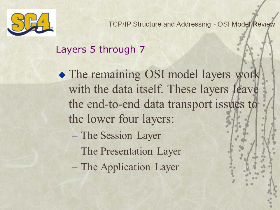  The remaining OSI model layers work with the data itself.