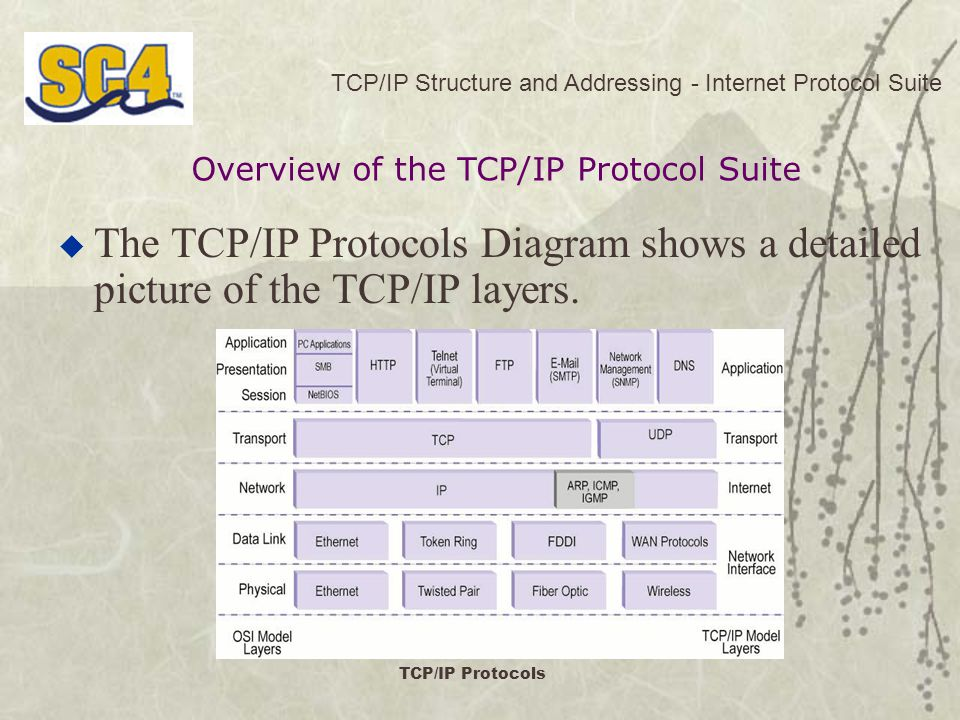 TCP/IP Structure and Addressing - Internet Protocol Suite  The TCP/IP Protocols Diagram shows a detailed picture of the TCP/IP layers.