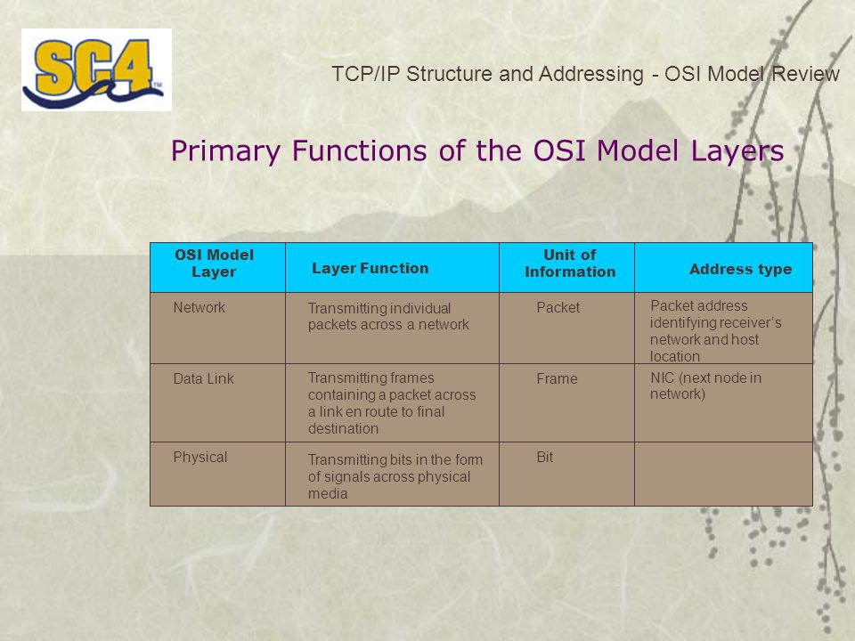Primary Functions of the OSI Model Layers TCP/IP Structure and Addressing - OSI Model Review OSI Model Layer Layer Function Unit of Information Address type NetworkTransmitting individual packets across a network Packet Data Link Transmitting bits in the form of signals across physical media Physical Transmitting frames containing a packet across a link en route to final destination Packet address identifying receiver's network and host location Frame NIC (next node in network) Bit