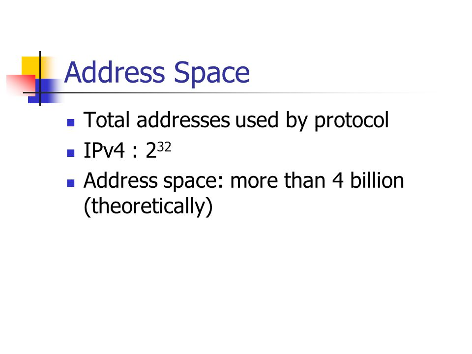 Address Space Total addresses used by protocol IPv4 : 2 32 Address space: more than 4 billion (theoretically)