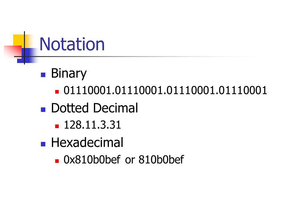 Notation Binary 01110001.01110001.01110001.01110001 Dotted Decimal 128.11.3.31 Hexadecimal 0x810b0bef or 810b0bef