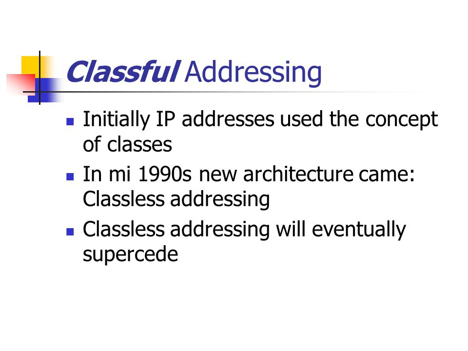 Classful Addressing Initially IP addresses used the concept of classes In mi 1990s new architecture came: Classless addressing Classless addressing will eventually supercede