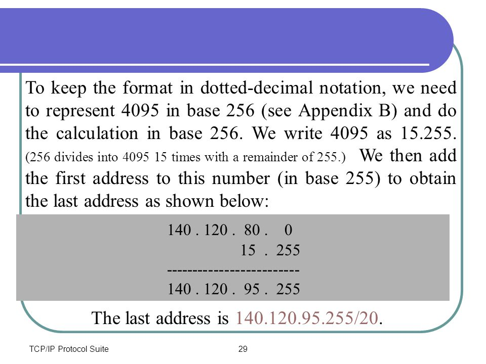 TCP/IP Protocol Suite29 To keep the format in dotted-decimal notation, we need to represent 4095 in base 256 (see Appendix B) and do the calculation i
