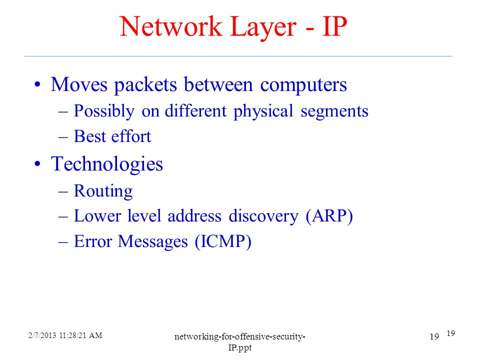 2/7/2013 11:26:30 AM networking-for-offensive-security- IP.ppt 18 Ethernet Switches and Hubs