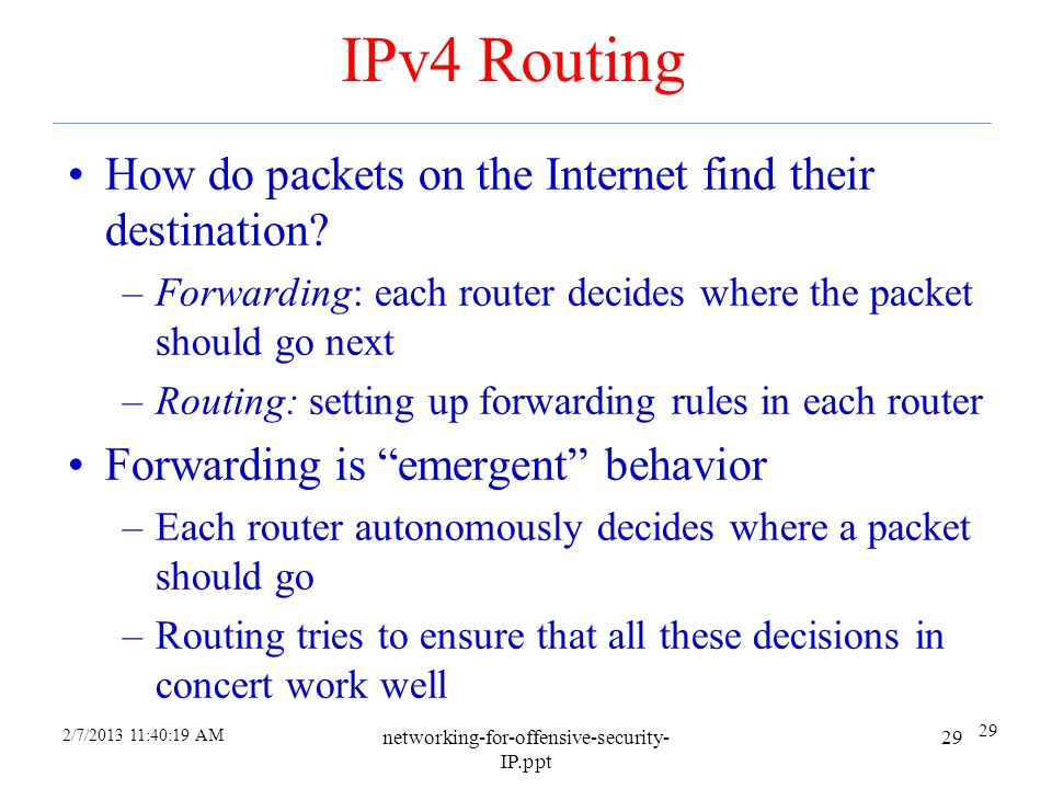 2/7/2013 11:37:44 AM networking-for-offensive-security- IP.ppt 28 ARP Cache Poisoning