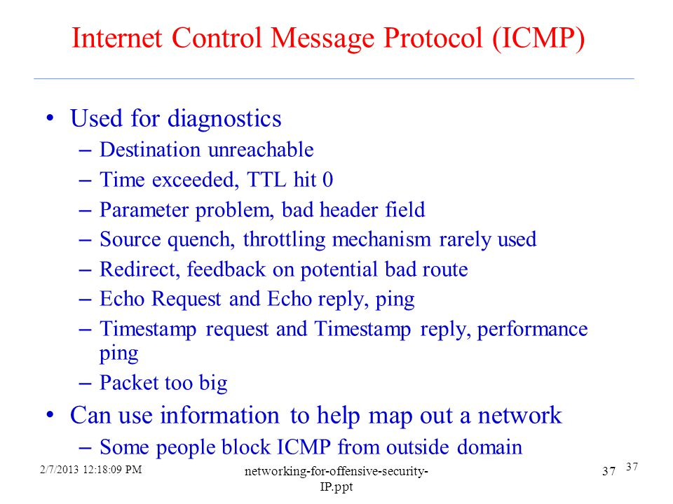 2/7/2013 12:18:09 PM networking-for-offensive-security- IP.ppt 36 IP Options in General Originally envisioned as a means to add more features to IP la