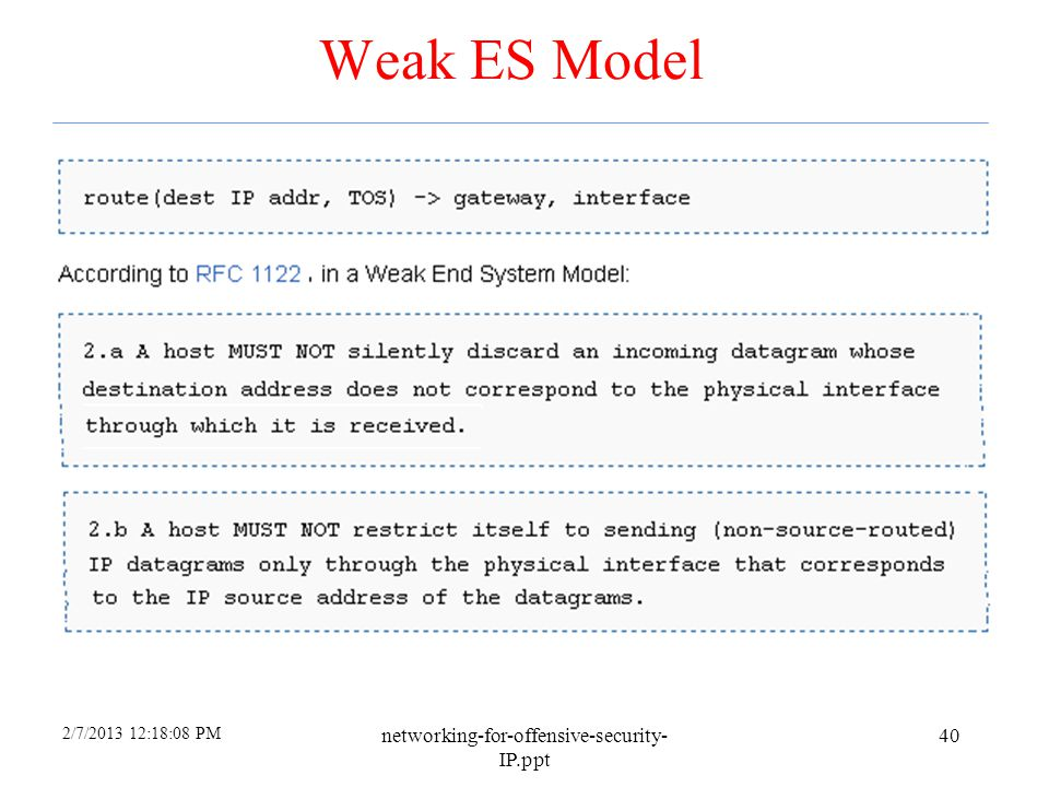 2/7/2013 12:18:08 PM networking-for-offensive-security- IP.ppt 39 Strong ES Model