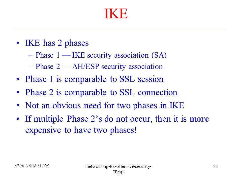 2/7/2013 9:18:23 AM networking-for-offensive-security- IP.ppt 77 IKE and ESP/AH Two parts to IPsec IKE: Internet Key Exchange –Mutual authentication –
