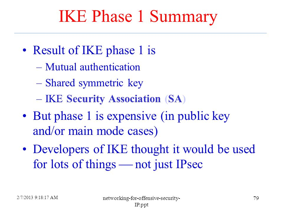 2/7/2013 9:18:24 AM networking-for-offensive-security- IP.ppt 78 IKE IKE has 2 phases –Phase 1  IKE security association (SA) –Phase 2  AH/ESP secur