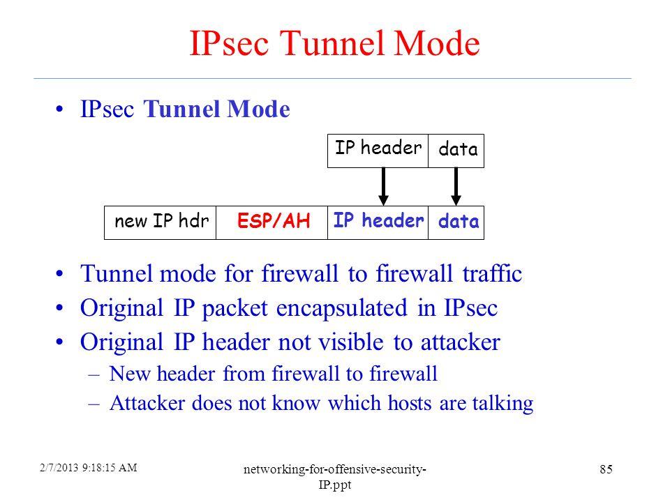 2/7/2013 9:18:15 AM networking-for-offensive-security- IP.ppt 84 IPsec Transport Mode IP header data IP headerESP/AH data Transport mode designed for