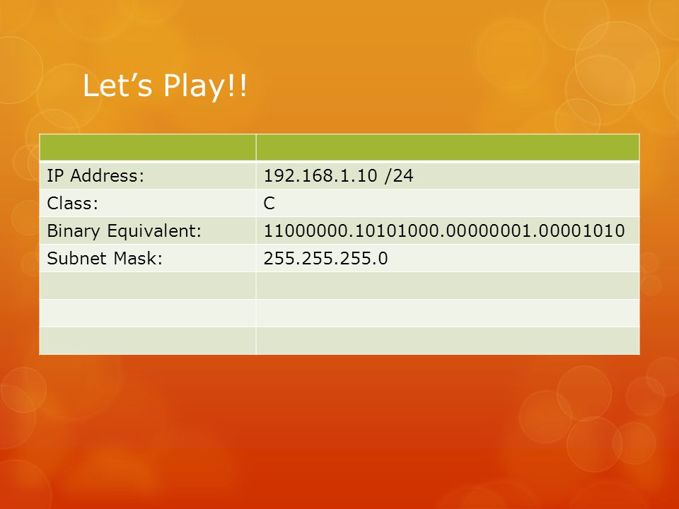 Let's Play!! IP Address:192.168.1.10 /24 Class:C Binary Equivalent:11000000.10101000.00000001.00001010 Subnet Mask:255.255.255.0