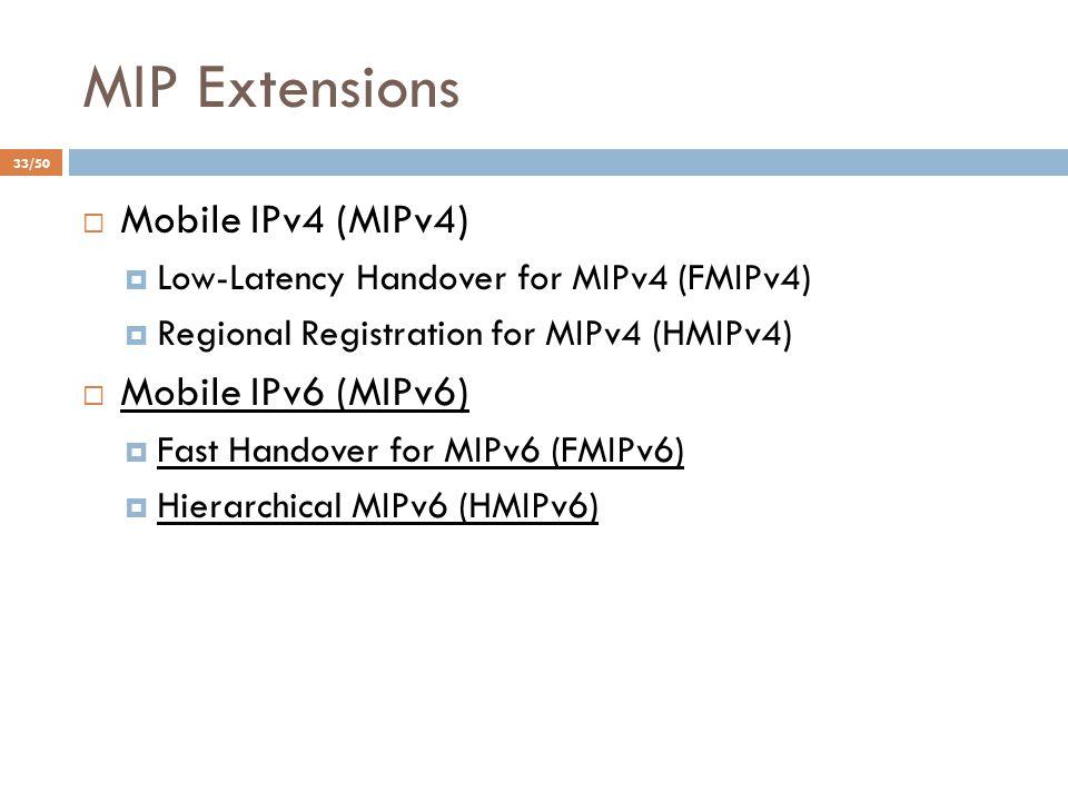 MIP Extensions  Mobile IPv4 (MIPv4)  Low-Latency Handover for MIPv4 (FMIPv4)  Regional Registration for MIPv4 (HMIPv4)  Mobile IPv6 (MIPv6)  Fast