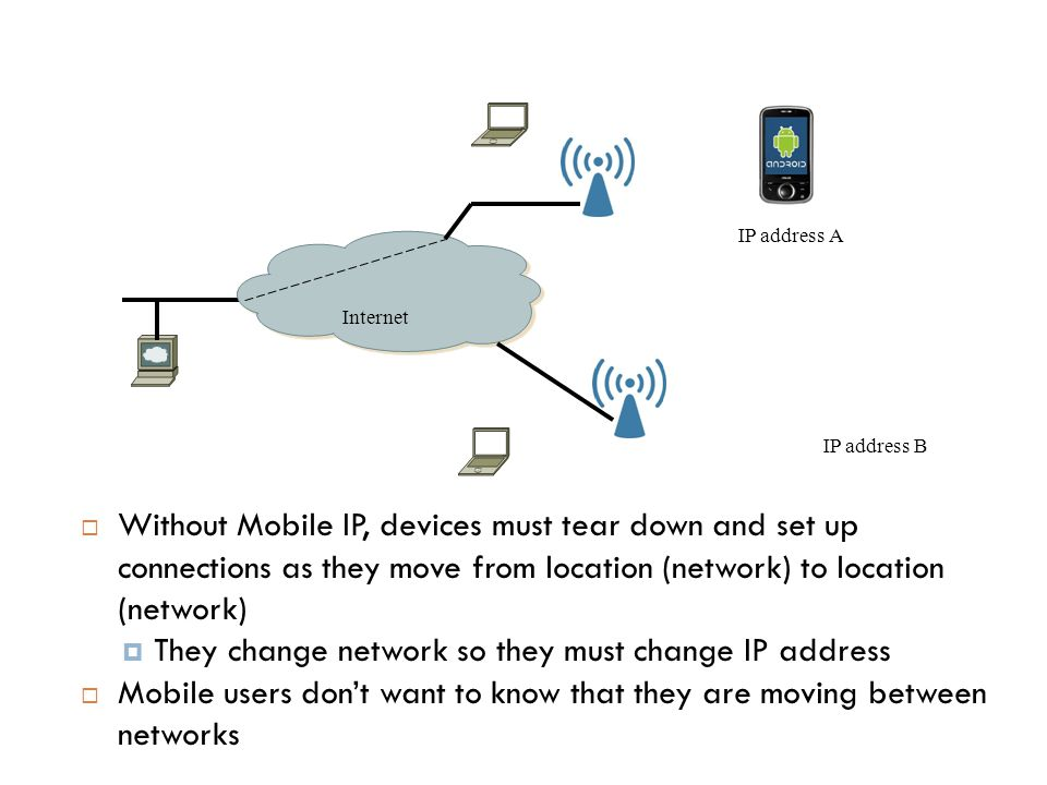 4/50  Without Mobile IP, devices must tear down and set up connections as they move from location (network) to location (network)  They change netwo