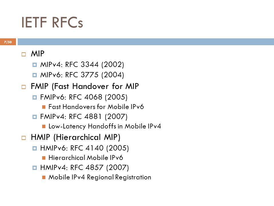 IETF RFCs  MIP  MIPv4: RFC 3344 (2002)  MIPv6: RFC 3775 (2004)  FMIP (Fast Handover for MIP  FMIPv6: RFC 4068 (2005) Fast Handovers for Mobile IP