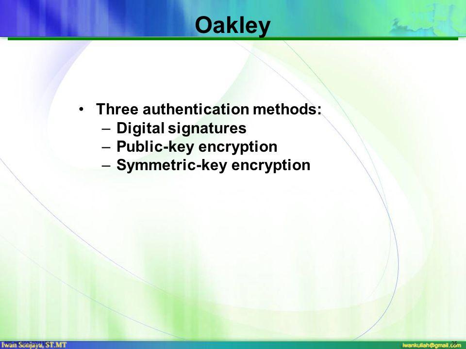 NS-H0503-02/110435 Oakley Three authentication methods: –Digital signatures –Public-key encryption –Symmetric-key encryption