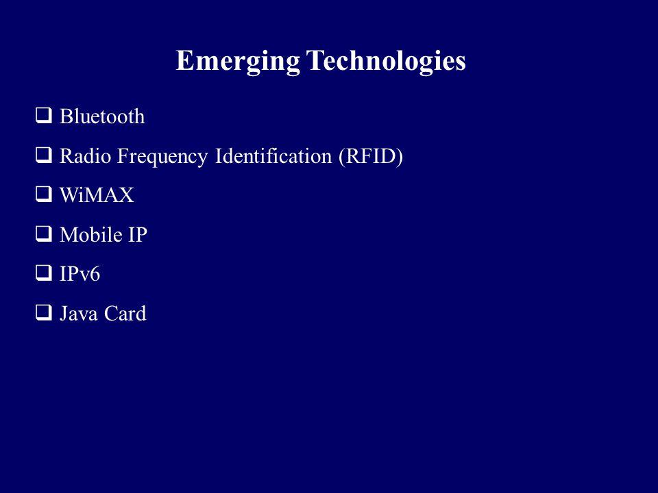  Bluetooth  Radio Frequency Identification (RFID)  WiMAX  Mobile IP  IPv6  Java Card