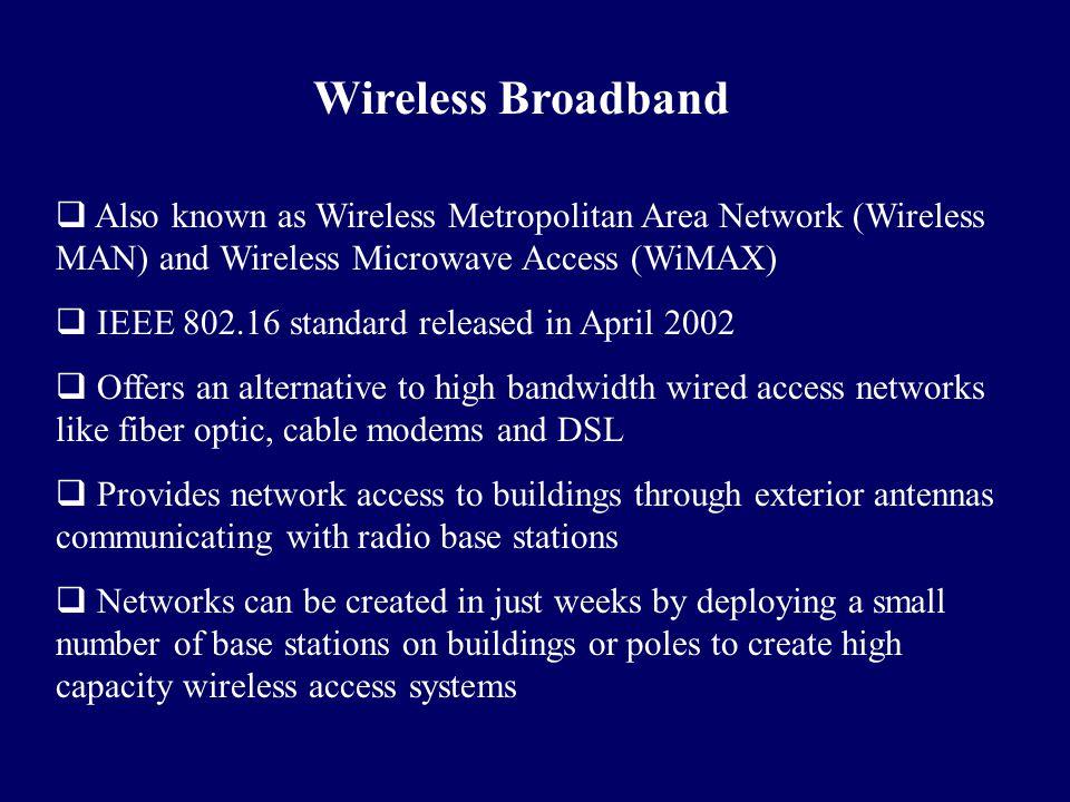 Wireless Broadband  Also known as Wireless Metropolitan Area Network (Wireless MAN) and Wireless Microwave Access (WiMAX)  IEEE 802.16 standard rele