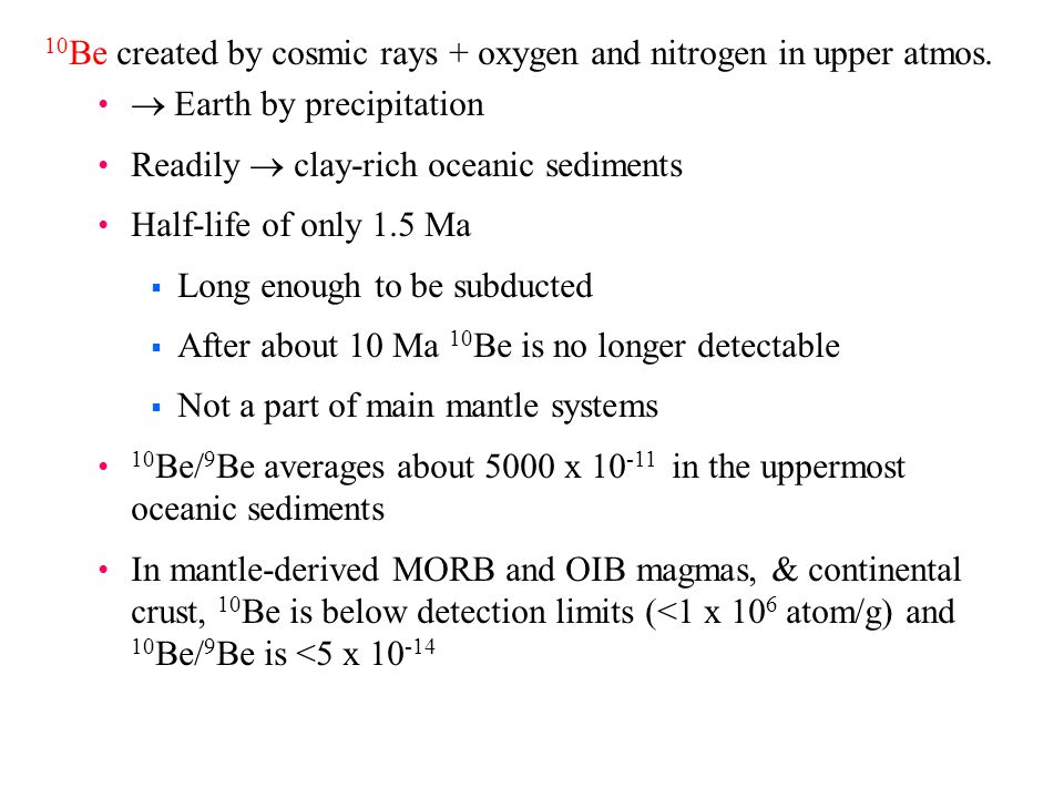 10 Be created by cosmic rays + oxygen and nitrogen in upper atmos.