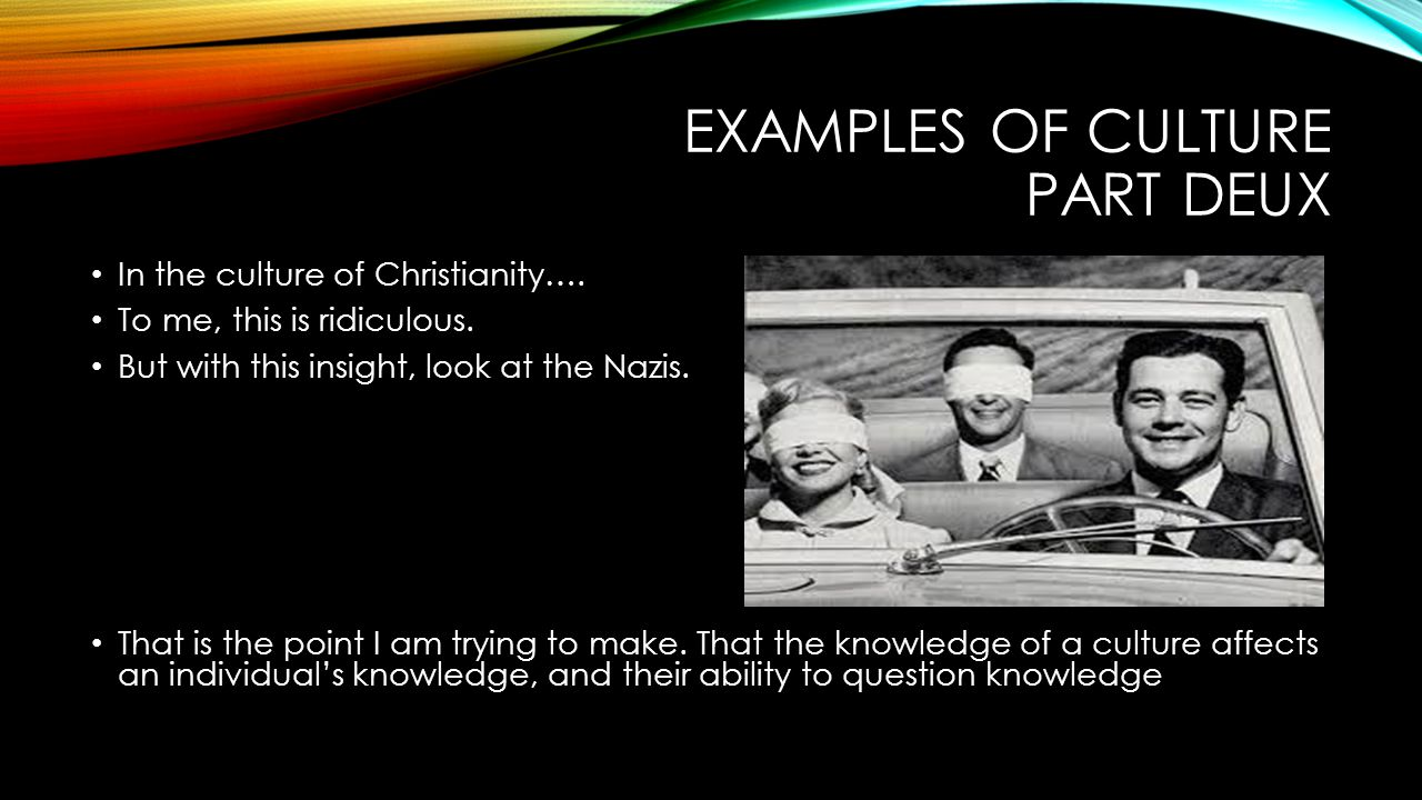 EXAMPLES OF CULTURE PART DEUX In the culture of Christianity….