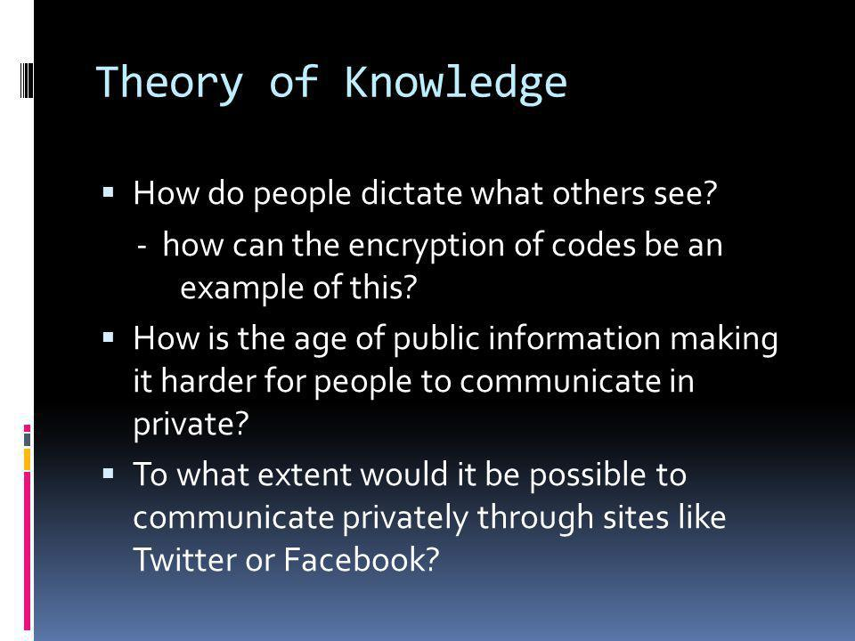 Theory of Knowledge  How do people dictate what others see.