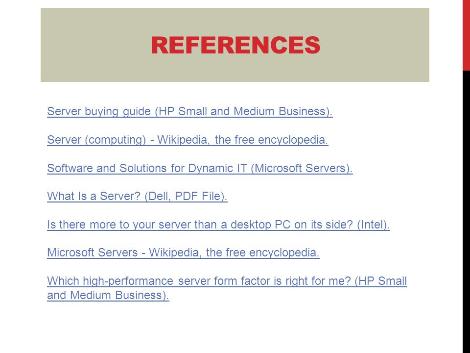 Server buying guide (HP Small and Medium Business).