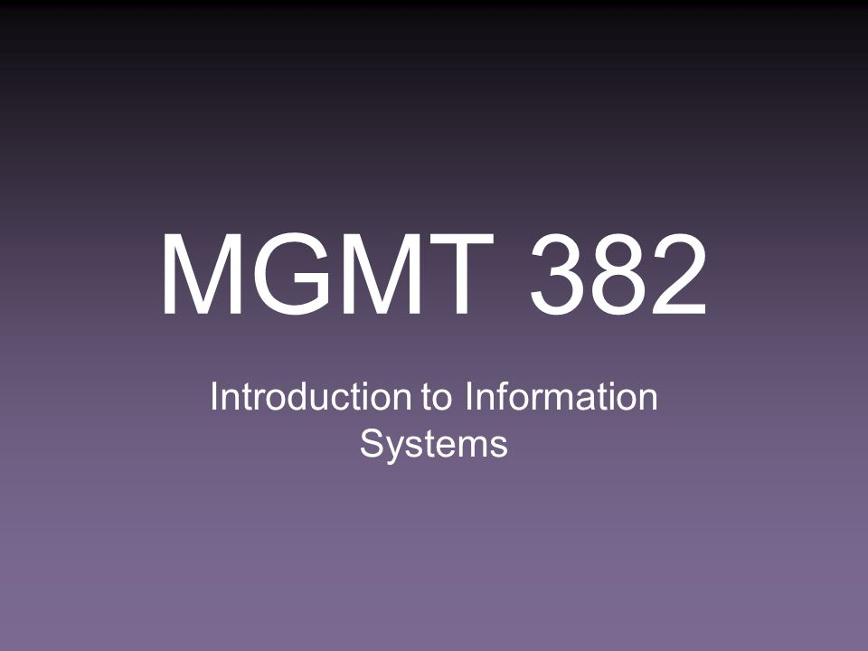 MGMT 382 Introduction to Information Systems