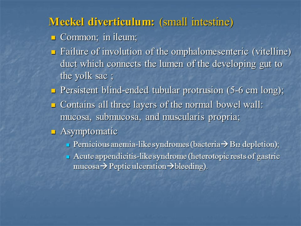 Meckel diverticulum: (small intestine) Meckel diverticulum: (small intestine) Common; in ileum; Common; in ileum; Failure of involution of the omphalomesenteric (vitelline) duct which connects the lumen of the developing gut to the yolk sac ; Failure of involution of the omphalomesenteric (vitelline) duct which connects the lumen of the developing gut to the yolk sac ; Persistent blind-ended tubular protrusion (5-6 cm long); Persistent blind-ended tubular protrusion (5-6 cm long); Contains all three layers of the normal bowel wall: mucosa, submucosa, and muscularis propria; Contains all three layers of the normal bowel wall: mucosa, submucosa, and muscularis propria; Asymptomatic Asymptomatic Pernicious anemia-like syndromes (bacteria  B 12 depletion); Pernicious anemia-like syndromes (bacteria  B 12 depletion); Acute appendicitis-like syndrome (heterotopic rests of gastric mucosa  Peptic ulceration  bleeding).