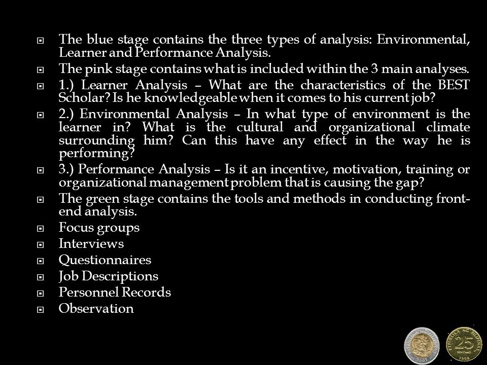  The blue stage contains the three types of analysis: Environmental, Learner and Performance Analysis.  The pink stage contains what is included wit