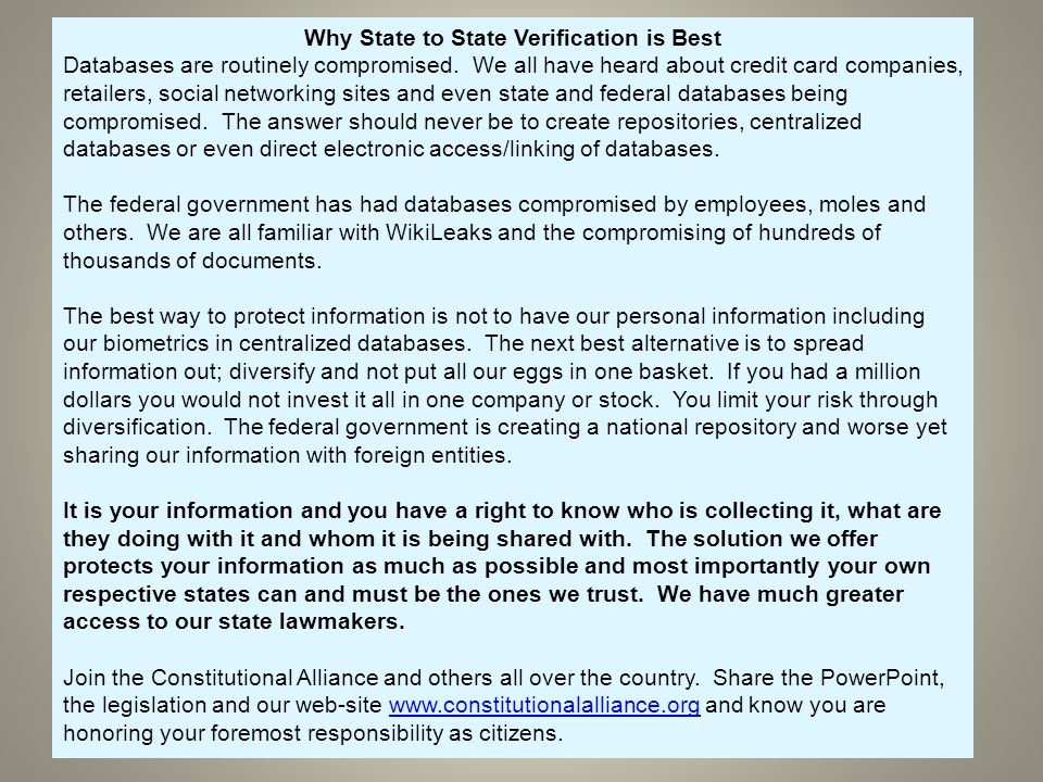Why State to State Verification is Best Databases are routinely compromised.