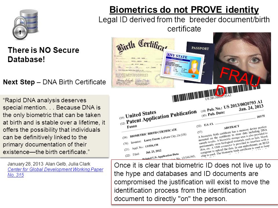 Biometrics do not PROVE identity Legal ID derived from the breeder document/birth certificate FRAU D There is NO Secure Database.