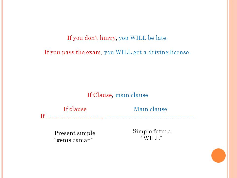 If you don't hurry, you WILL be late. If you pass the exam, you WILL get a driving license. If Clause, main clause If ………………………., ………………………………………. Mai