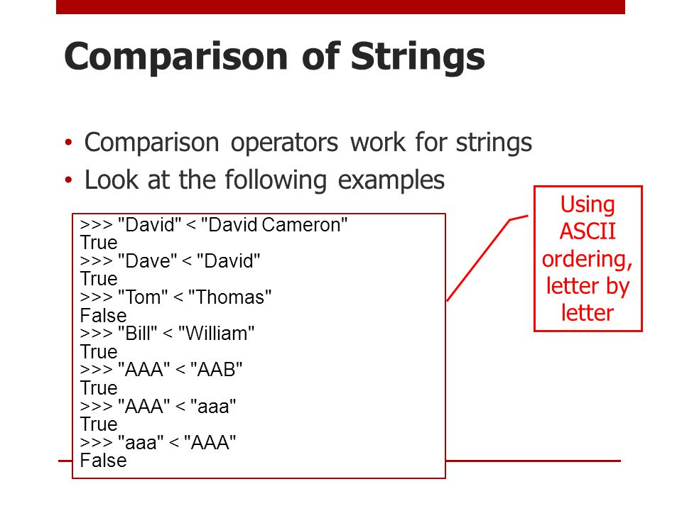 Comparison of Strings Comparison operators work for strings Look at the following examples >>> David < David Cameron True >>> Dave < David True >>> Tom < Thomas False >>> Bill < William True >>> AAA < AAB True >>> AAA < aaa True >>> aaa < AAA False Using ASCII ordering, letter by letter
