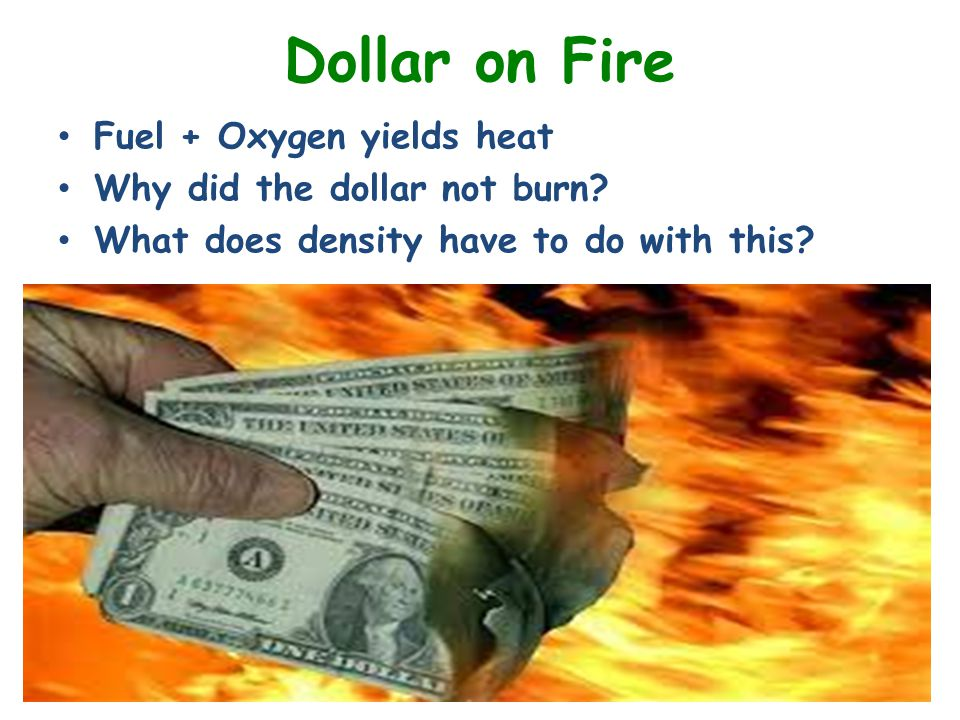 Dollar on Fire Fuel + Oxygen yields heat Why did the dollar not burn.