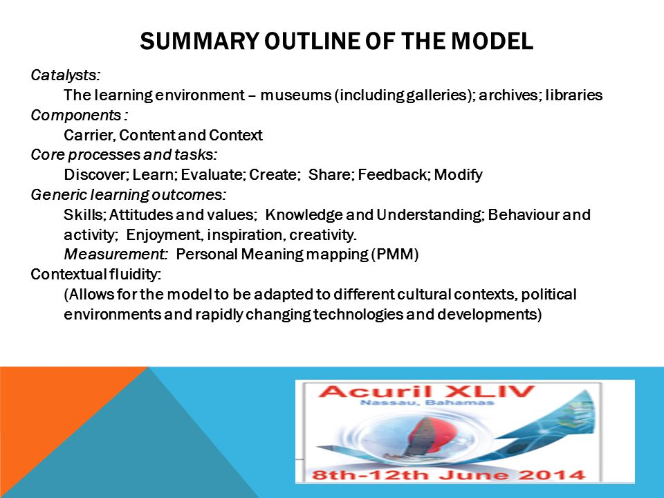 SUMMARY OUTLINE OF THE MODEL Catalysts: The learning environment – museums (including galleries); archives; libraries Components : Carrier, Content an