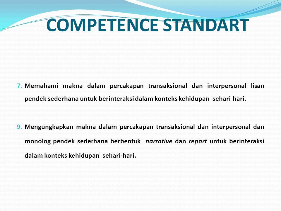 BASIC COMPETENCE 7.1 Merespon makna yang terdapat dalam percakapan transaksional (to get things done) dan interpersonal (bersosialisasi) pendek sederhana secara akurat, lancar, dan berterima untuk berinteraksi dalam konteks kehidupan sehari-hari yang melibatkan tindak tutur mengungkapkan kesantunan.