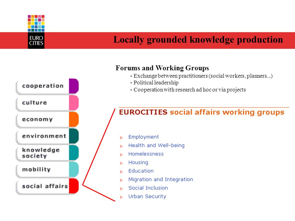 Locally grounded knowledge production Forums and Working Groups - Exchange between practitioners (social workers, planners...) - Political leadership - Cooperation with research ad hoc or via projects