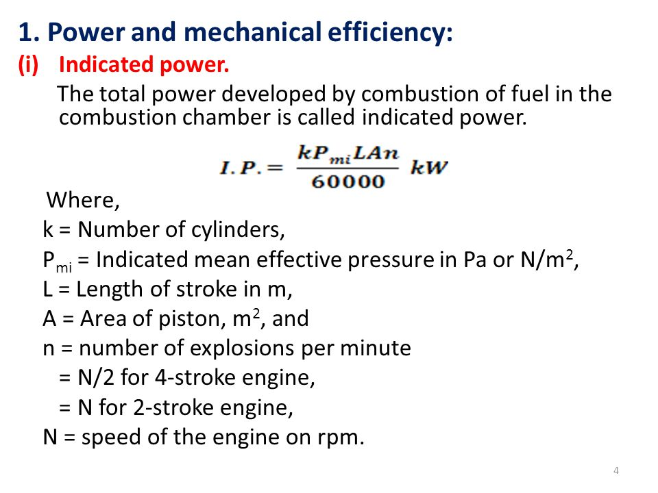 25 i.e., i.e., indicted power, If 'k' is the number of cylinders,