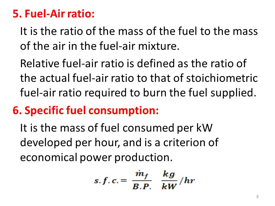 (iv) Stroke volume = Vs = (π / 4) d 2 L = (π / 4) x 8 2 x 10 = 502.65 cc Vs + Vc 502.65 + 70 Compression Ratio of the engine = Rc = ------------ = ----------------- = 8.18 Vc 70 Air standard efficiency of Otto cycle = η Otto = 1 – (1/ R c (γ – 1) ) 1 = 1 − -------------- = 0.568 = 56.8 % 8.18 0.4 Hence Relative efficiency = η Relative = η bth / η Otto = 0.263 / 0.568 = 0.463 = 46.3 %.