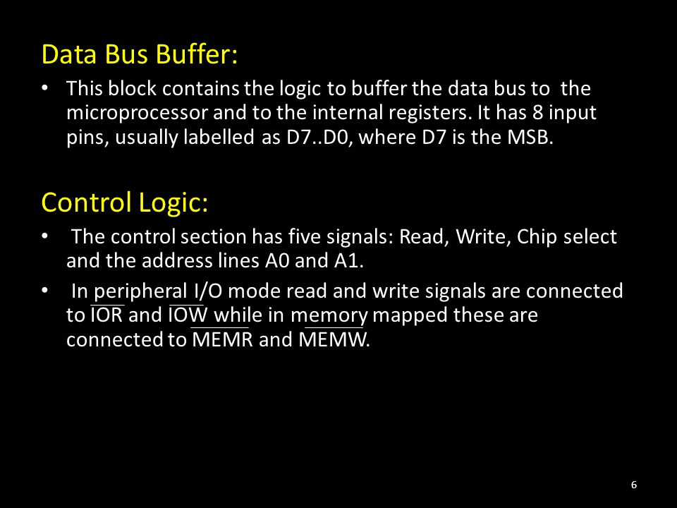 Data Bus Buffer: This block contains the logic to buffer the data bus to the microprocessor and to the internal registers.