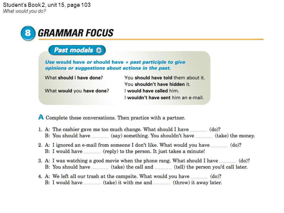 Student's Book 2, unit 15, page 103 What would you do?
