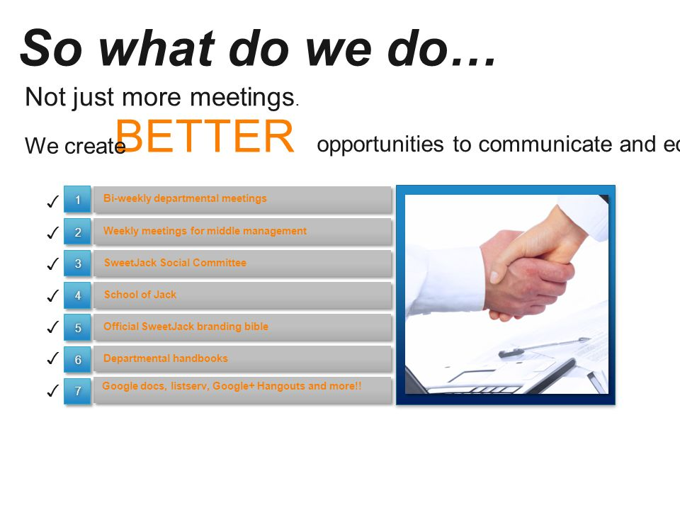 So what do we do… Bi-weekly departmental meetings Google docs, listserv, Google+ Hangouts and more!.